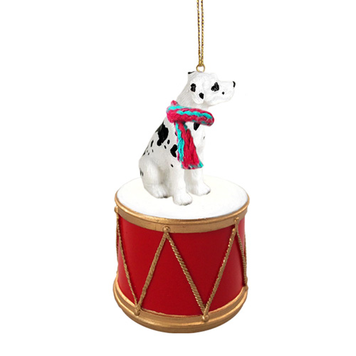 Little Drummer Dane Great Harlequin Uncropped Christmas Ornament