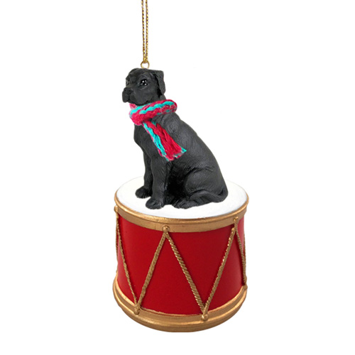 Little Drummer Great Dane Black Uncropped Christmas Ornament