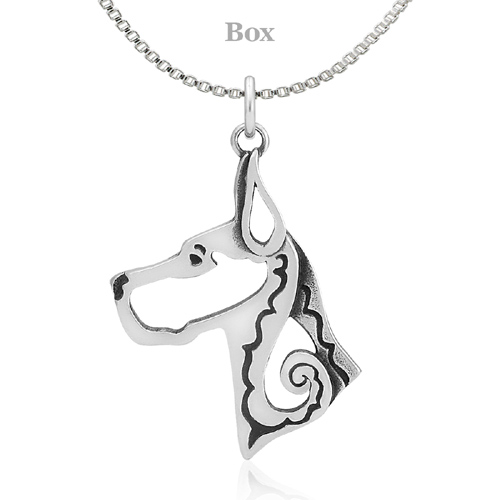 Sterling Silver Great Dane Cropped Ears Head Necklace