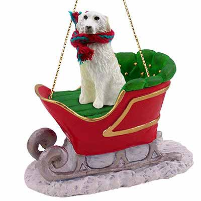 Great Pyrenees Sleigh Ride Christmas Ornament
