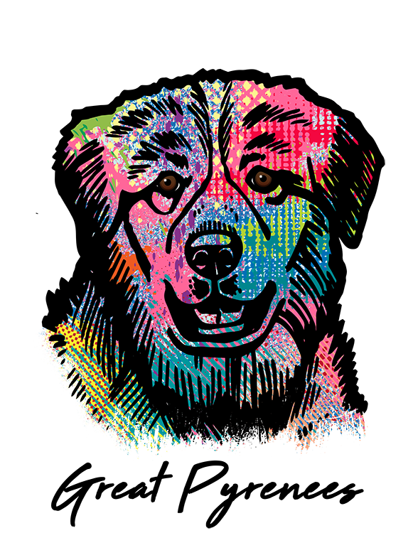 Great Pyrenees T Shirt Colorful Abstract