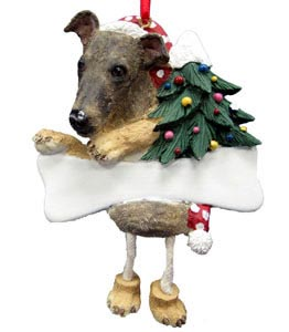 Greyhound Christmas Tree Ornament - Personalize (Brindle)