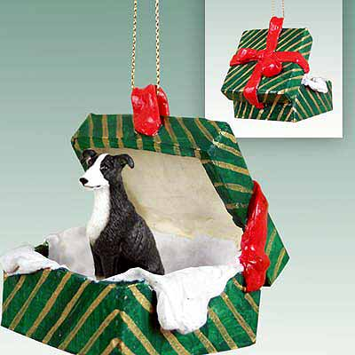 Greyhound Gift Box Christmas Ornament Black-White