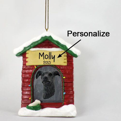 Greyhound Personalized Dog House Christmas Ornament Brindle