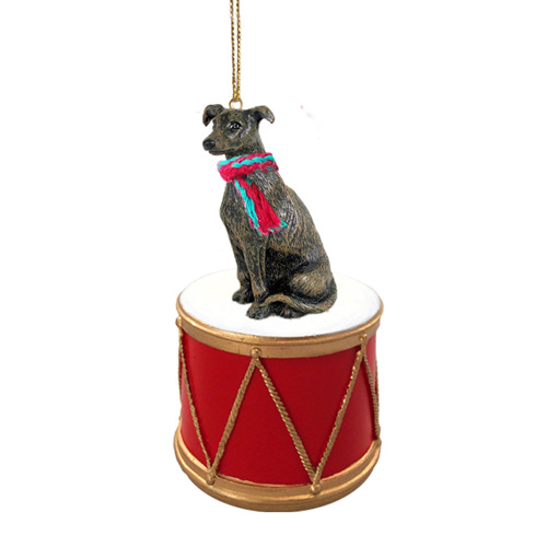 Little Drummer Brindle Greyhound Christmas Ornament
