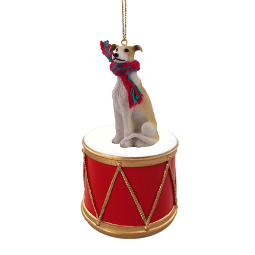 Little Drummer Greyhound Christmas Ornament