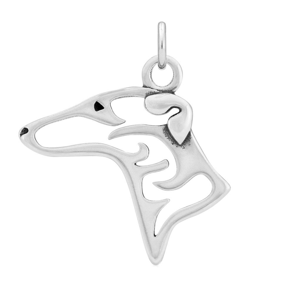 Sterling Silver Greyhound Head Necklace