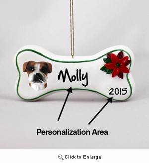 Boxer Personalized Dog Bone Christmas Ornament Uncropped