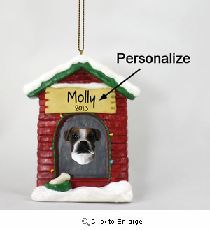 Boxer Personalized Dog House Christmas Ornament Brindle Uncropped