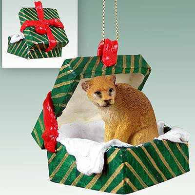 Cougar Gift Box Christmas Ornament