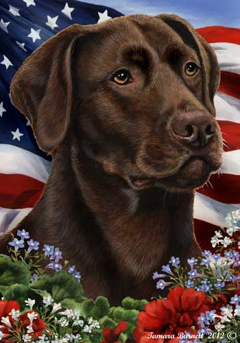 Chocolate Labrador House Flag