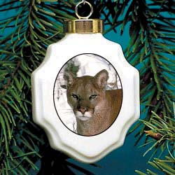 Cougar Christmas Ornament Porcelain