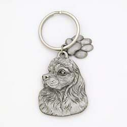Cocker Spaniel Keychain Pewter
