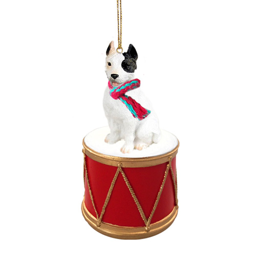 Little Drummer Pit Bull White Christmas Ornament