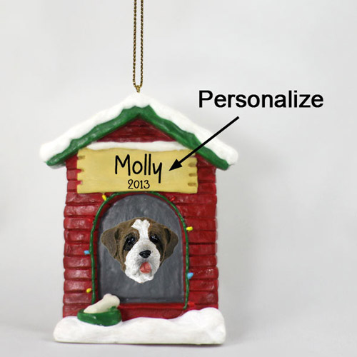 Saint Bernard Personalized Dog House Christmas Ornament