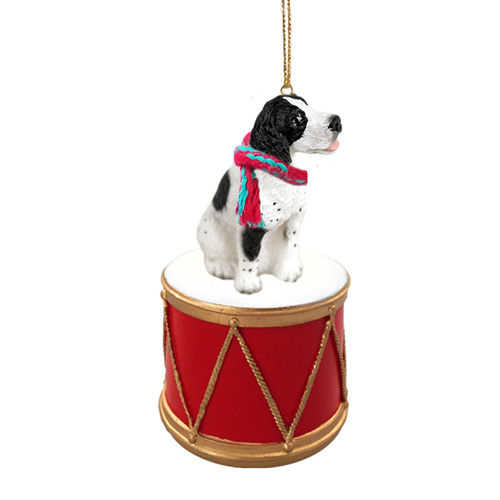 Little Drummer Pointer Black-White Christmas Ornament