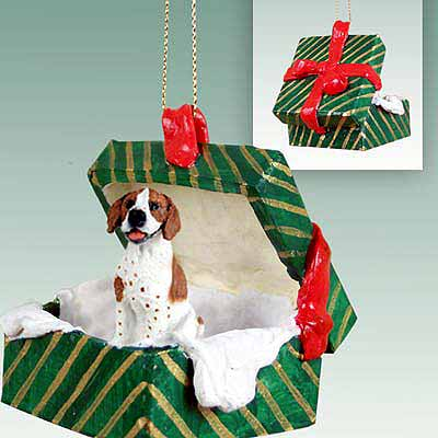Pointer Gift Box Christmas Ornament Brown-White