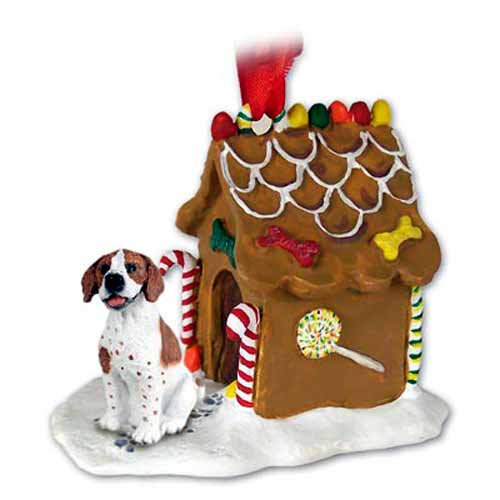 Pointer Gingerbread House Christmas Ornament Brown-White