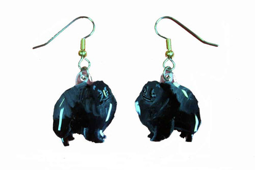 Pomeranian Earrings Black Hand Painted Acrylic