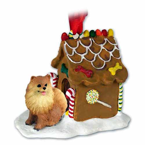 Pomeranian Gingerbread House Christmas Ornament Red
