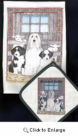 Bearded Collie Dish Towel & Potholder