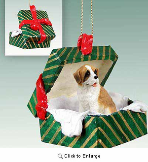 Saint Bernard Gift Box Christmas Ornament Rough Coat