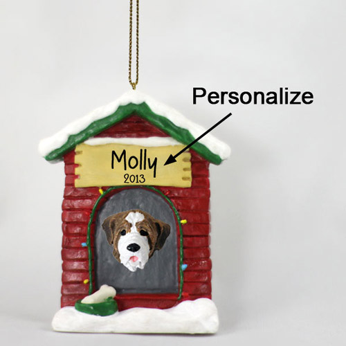 Saint Bernard Personalized Dog House Christmas Ornament Smooth Coat