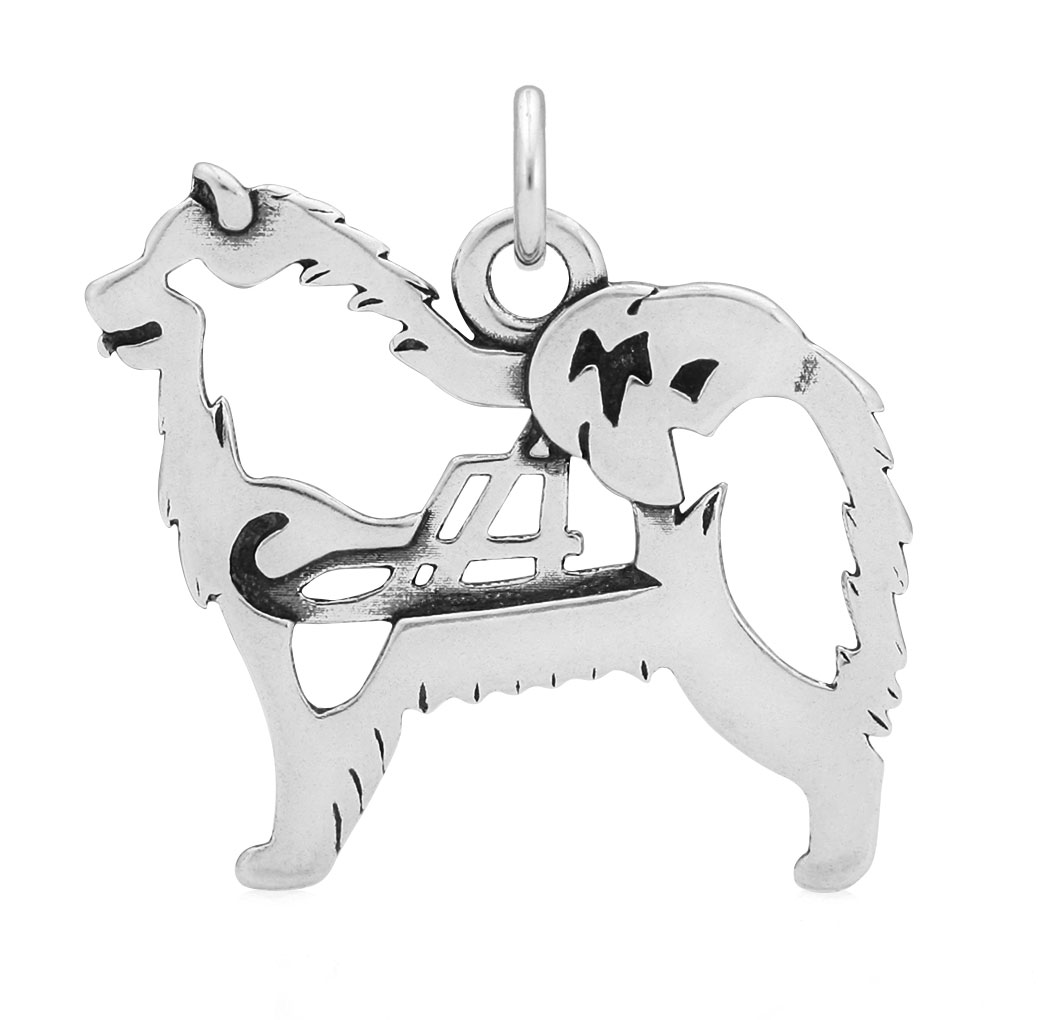 Sterling Silver Samoyed W/Sled Body Necklace
