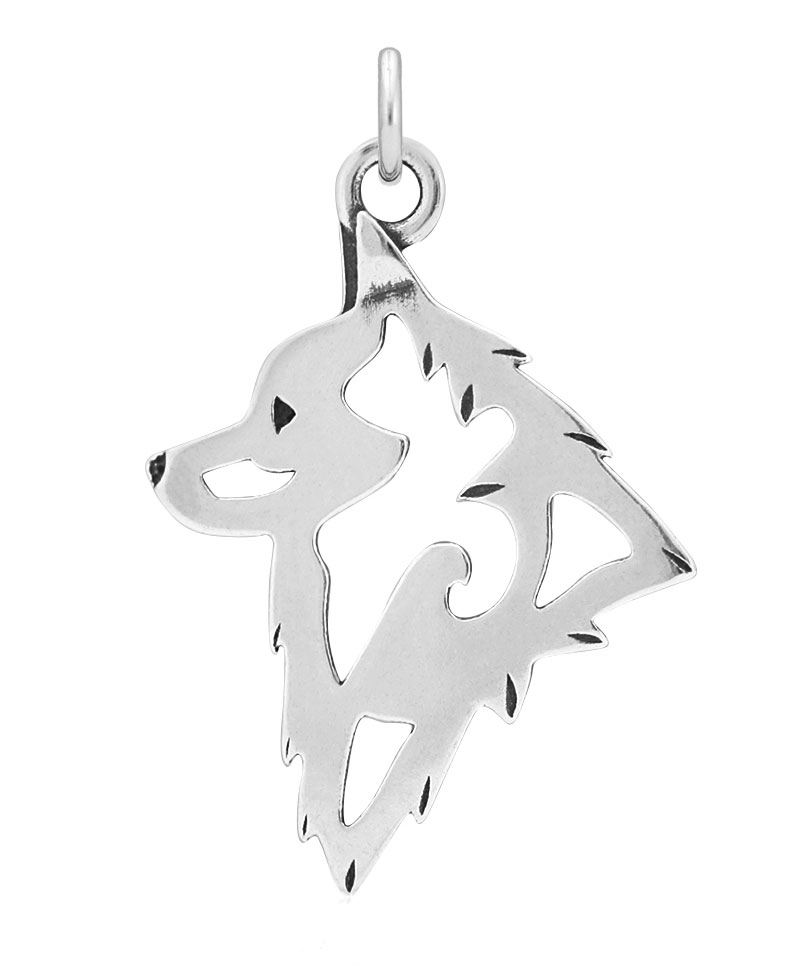 Sterling Silver Schipperke Head Necklace