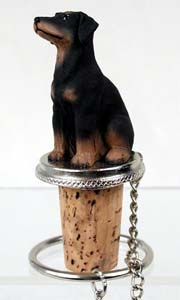 Doberman Pinscher Bottle Stopper (Black Uncropped)