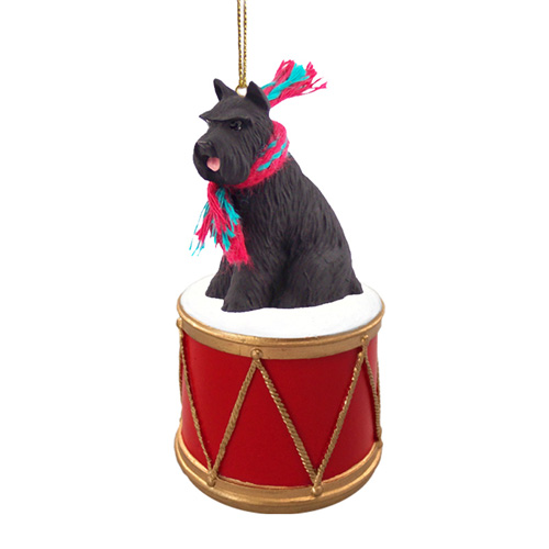 Little Drummer Schnauzer Black Christmas Ornament