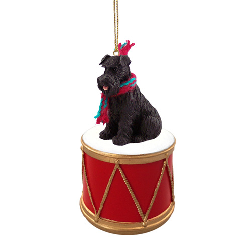 Little Drummer Schnauzer Black Uncropped Christmas Ornament