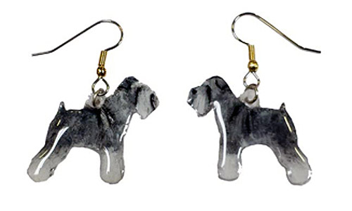 Schnauzer Earrings Gray Uncropped Hand Painted Acrylic