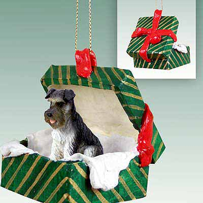 Schnauzer Gift Box Christmas Ornament Gray Uncropped