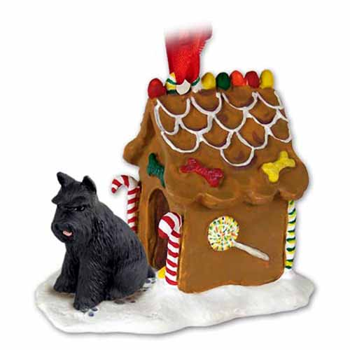 Schnauzer Gingerbread House Christmas Ornament Black