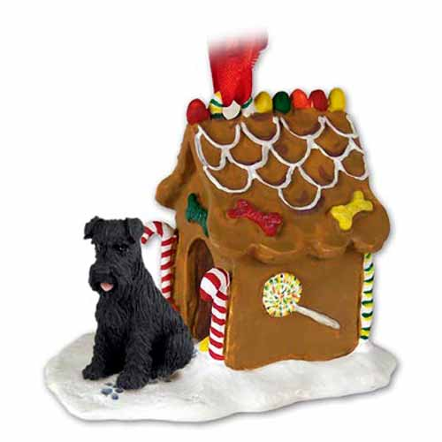 Schnauzer Gingerbread House Christmas Ornament Black Uncropped