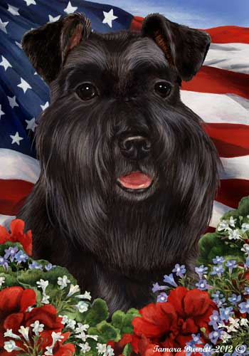 Schnauzer House Flag Black Uncropped