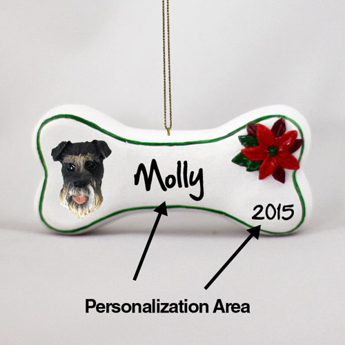 Schnauzer Personalized Dog Bone Christmas Ornament Gray Uncropped