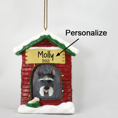 Schnauzer Personalized Dog House Christmas Ornament