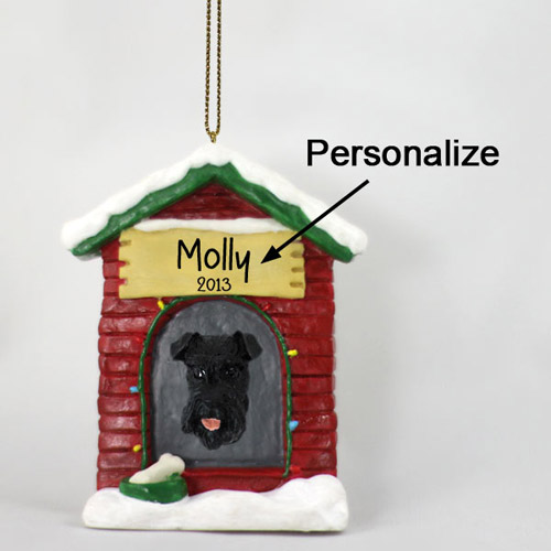 Schnauzer Personalized Dog House Christmas Ornament Black Uncropped