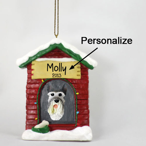 Schnauzer Personalized Dog House Christmas Ornament Giant