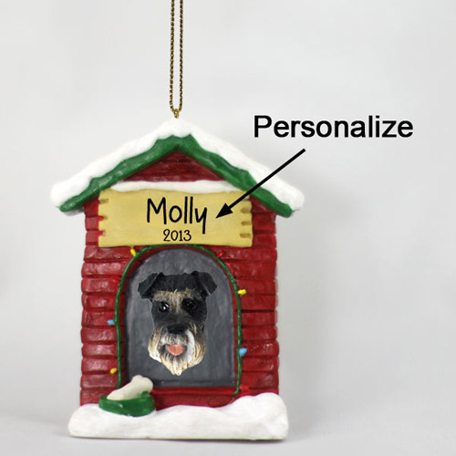Schnauzer Personalized Dog House Christmas Ornament Gray Uncropped