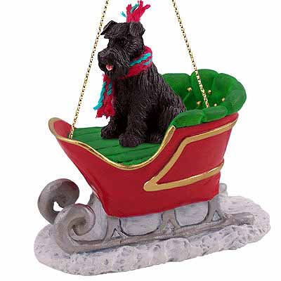 Schnauzer Sleigh Ride Christmas Ornament Black Uncropped