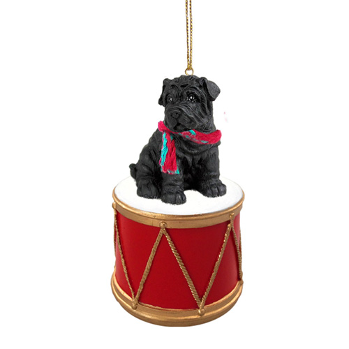 Little Drummer Shar Pei Black Christmas Ornament