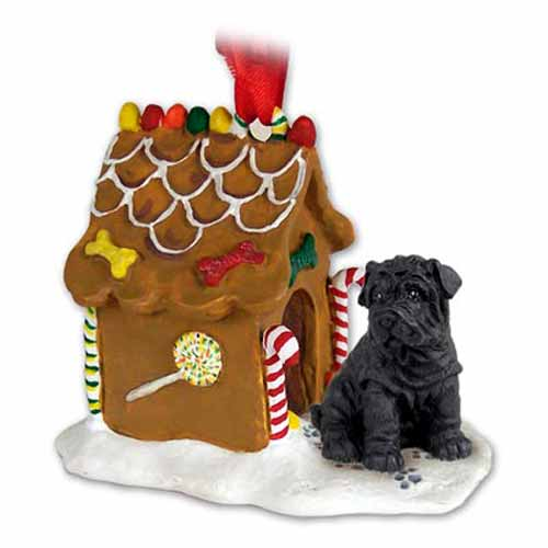 Shar Pei Gingerbread House Christmas Ornament Black