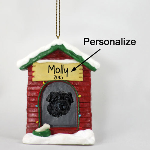 Shar Pei Personalized Dog House Christmas Ornament Black
