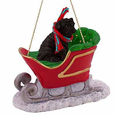 Shar Pei Sleigh Ride Christmas Ornament Black