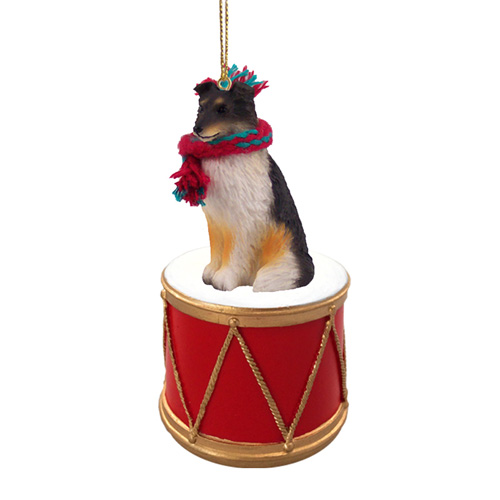 Little Drummer Shetland Sheepdog Tricolor Christmas Ornament