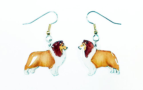 Shetland Sheepdog Earrings Sable Hand Painted Acrylic