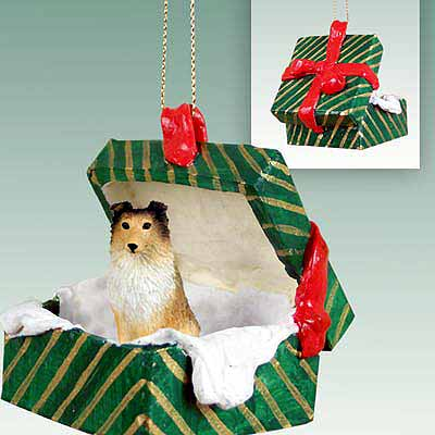 Shetland Sheepdog Gift Box Christmas Ornament Sable